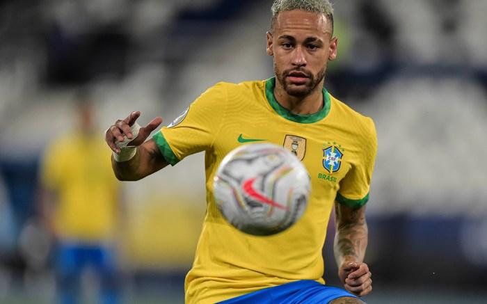 Neymar Brazil player during a match against Peru at the Engenhão stadium for the Copa América 2021, this Monday(05). (Photo by Thiago Ribeiro/NurPhoto via AP)
