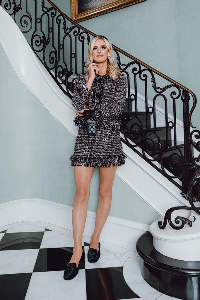 nicky hilton, kathy hilton home, tweed skirt prabal gurung, french sole, chanel jewelry, footwear news