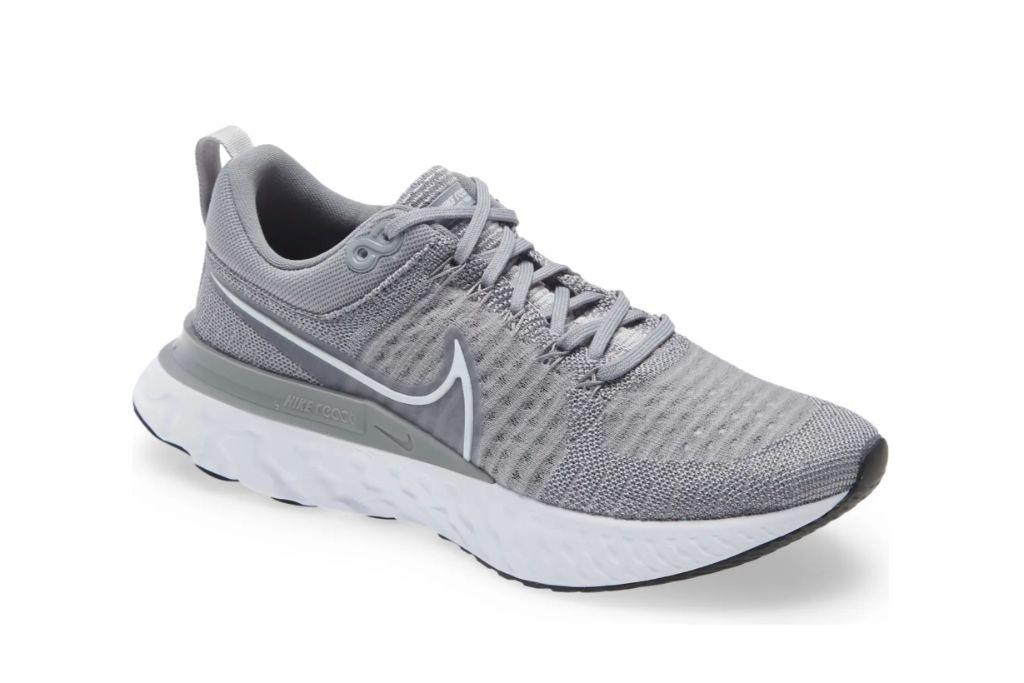 nike, react infinity run flyknit shoe, gray sneakers