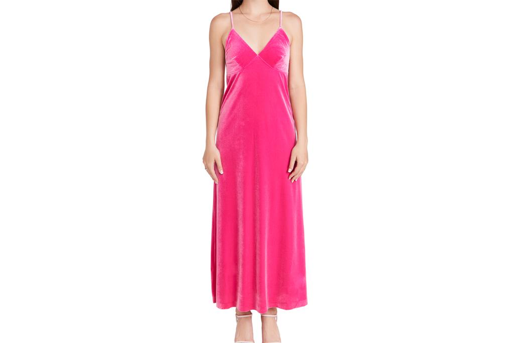 pink dress, slip dress, norma kamali