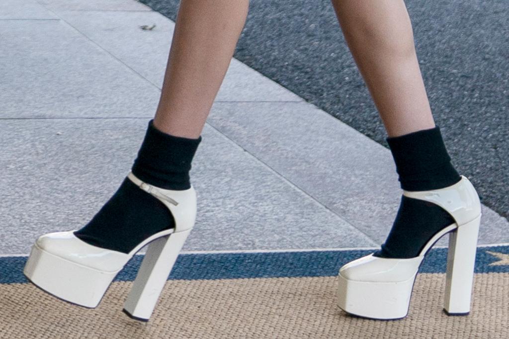 olivia rodrigo, jacket, skirt, plaid skirt, heels, socks, platforms, white house, joe biden, video