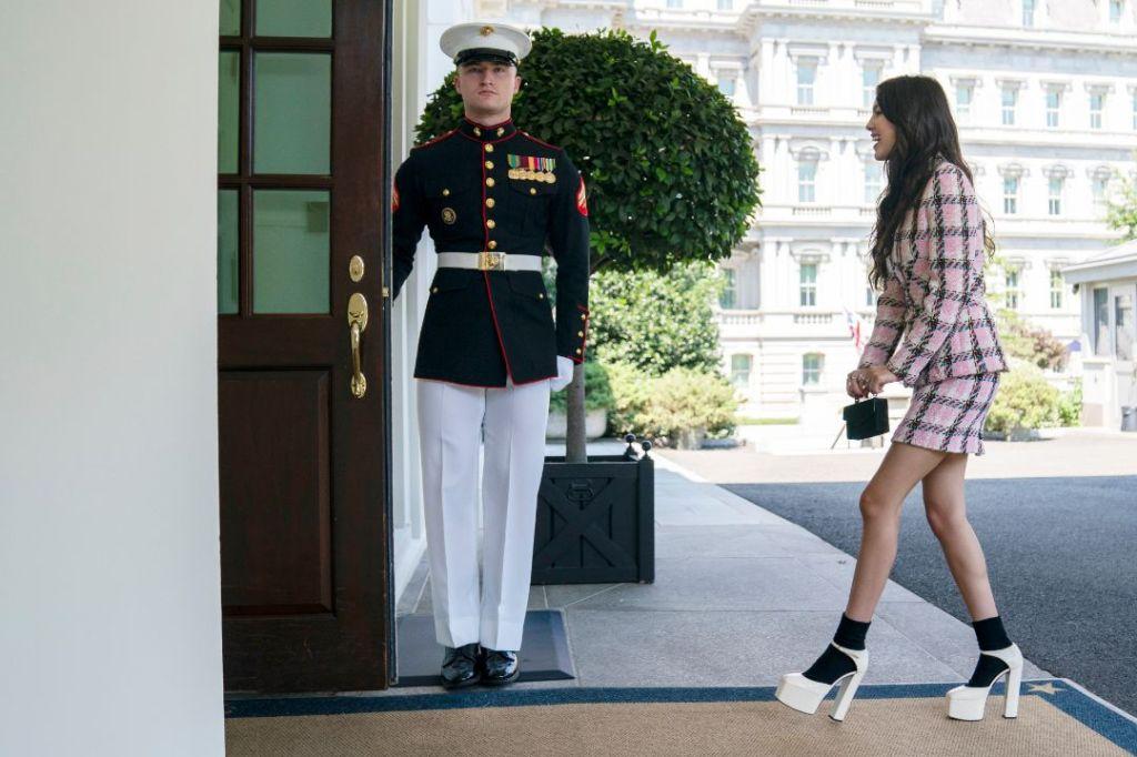 olivia rodrigo, chanel jacket, skirt, plaid skirt, heels, socks, giuseppe Zanotti platforms, white house, joe biden, video