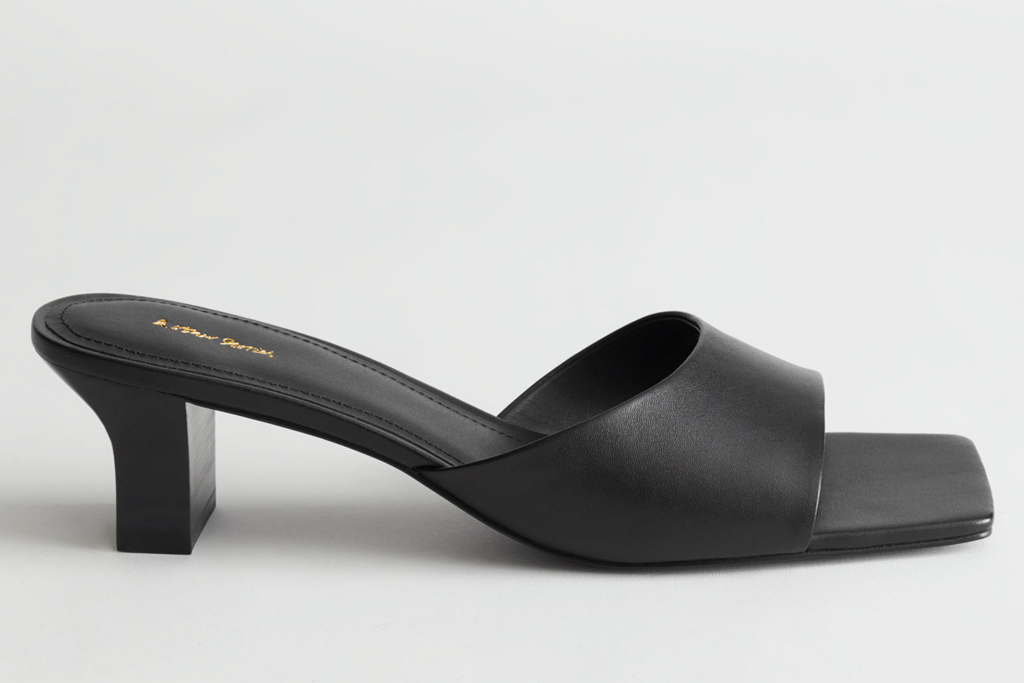 black mules, heels, square toe, other stories
