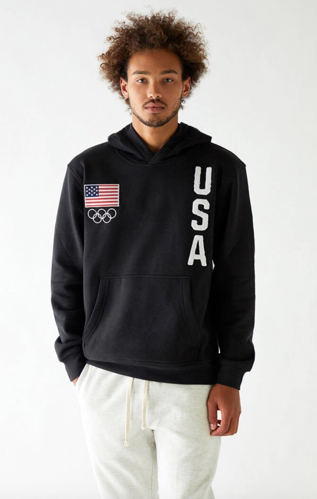pacsun, usa rings hoodie, tokyo olympics merch