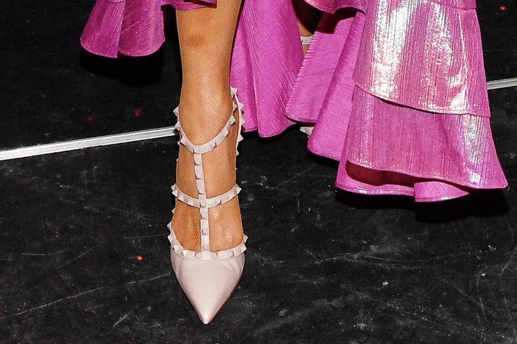 paris hilton, dress, pink dress, gown, plunging, white heels, stud, valentino, tubi, tiktok, la