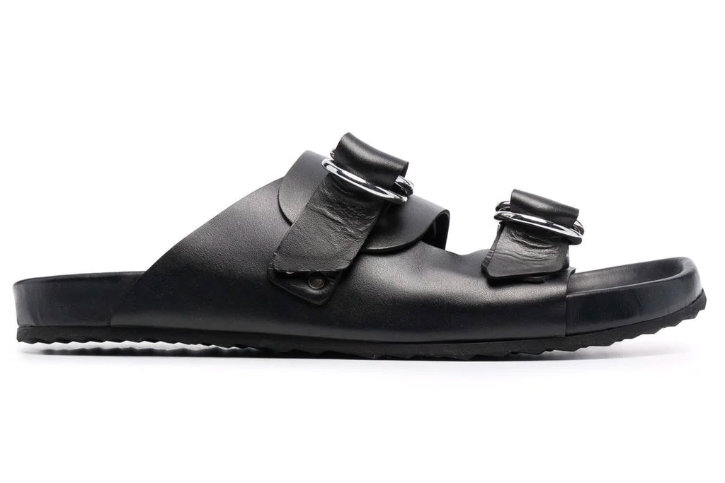 black sandals, double strap, leather, pierre hardy