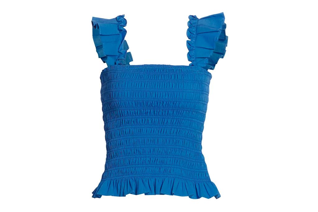 blue shirt, ramy brook, ruffled