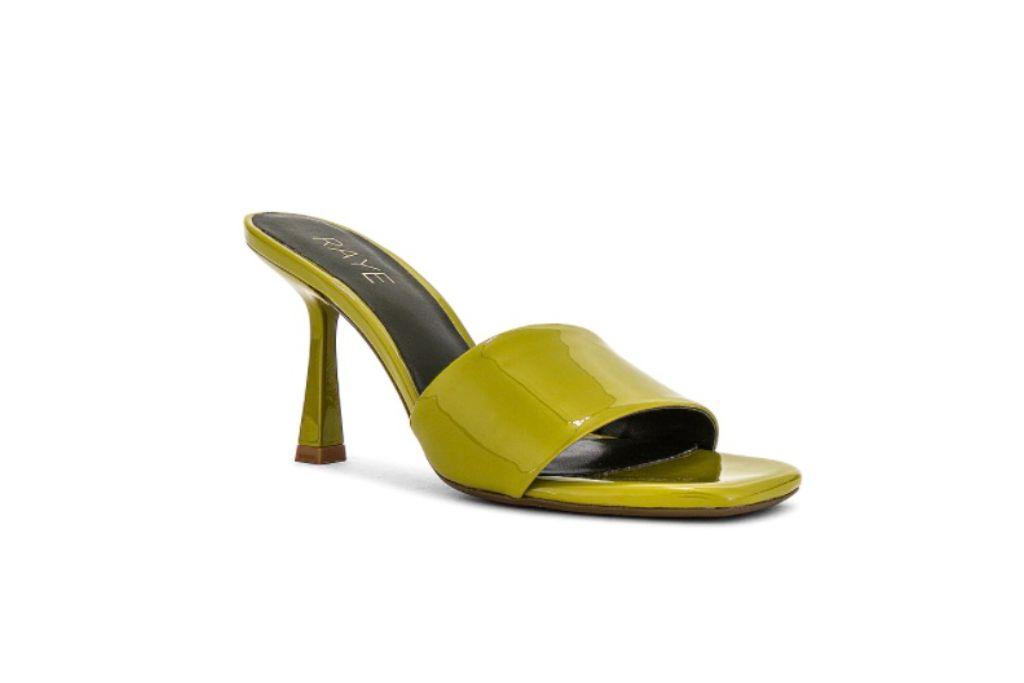 raye ali heel, green square toe heels