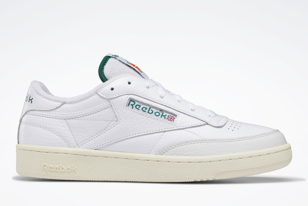 sneakers, low-top, green, red, white, reebok
