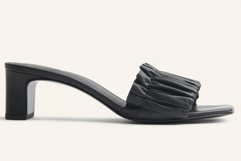 black mules, heels, square toe, reformation