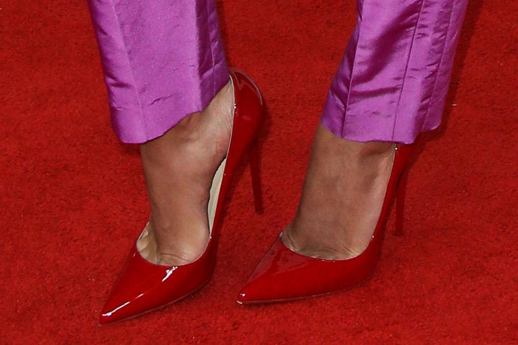 rita ora, blue top, purple pants, red heels, heels, red carpet, la, los angeles art show, gala