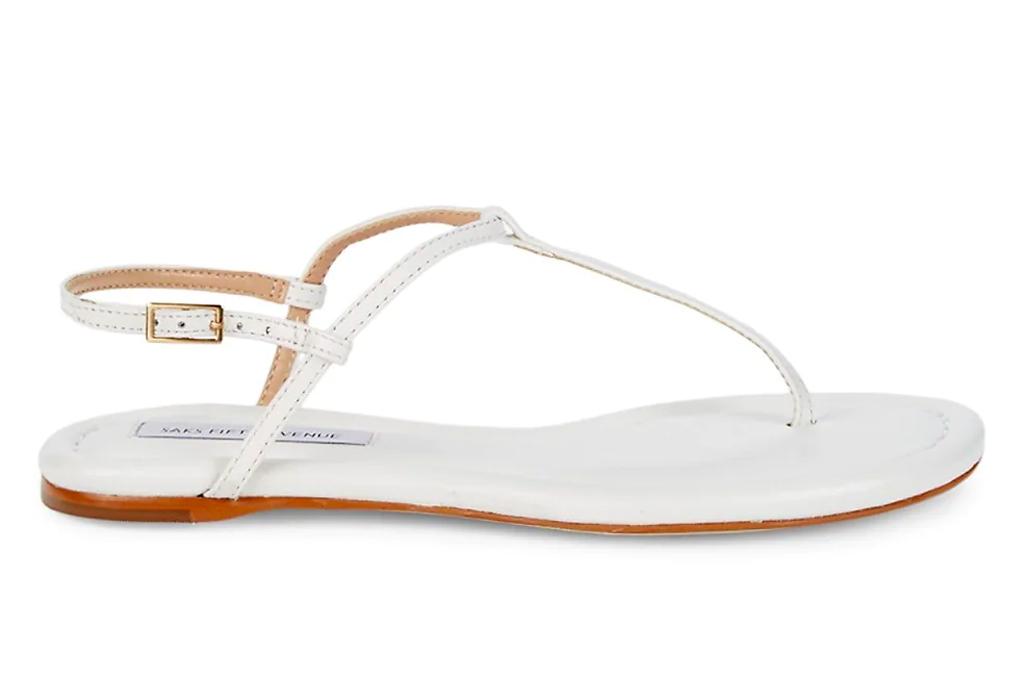 thong sandals, t strap, white, saks