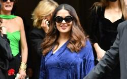 salma hayek, blue dress, square heels,
