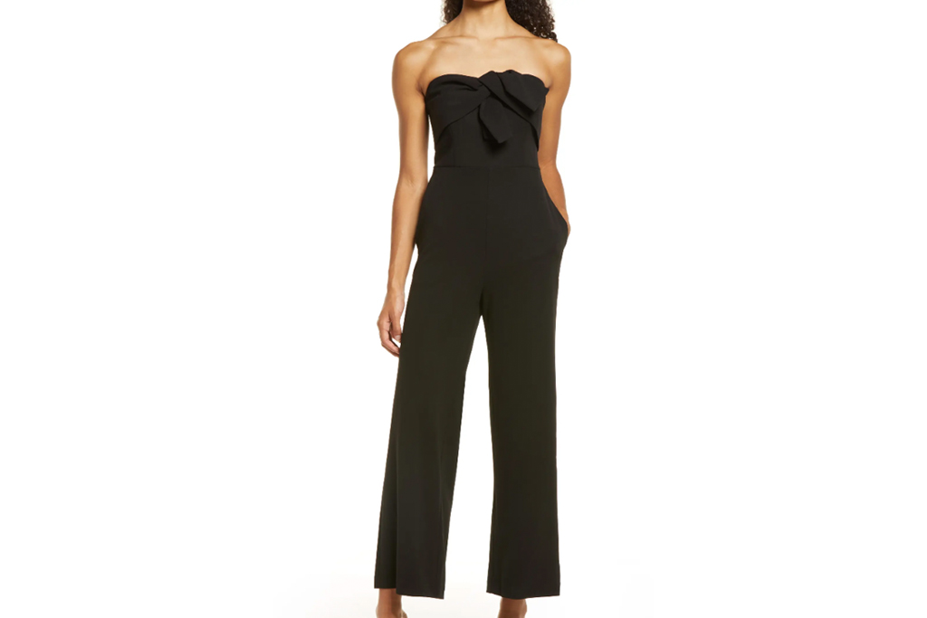 jumpsuit, strapless, black