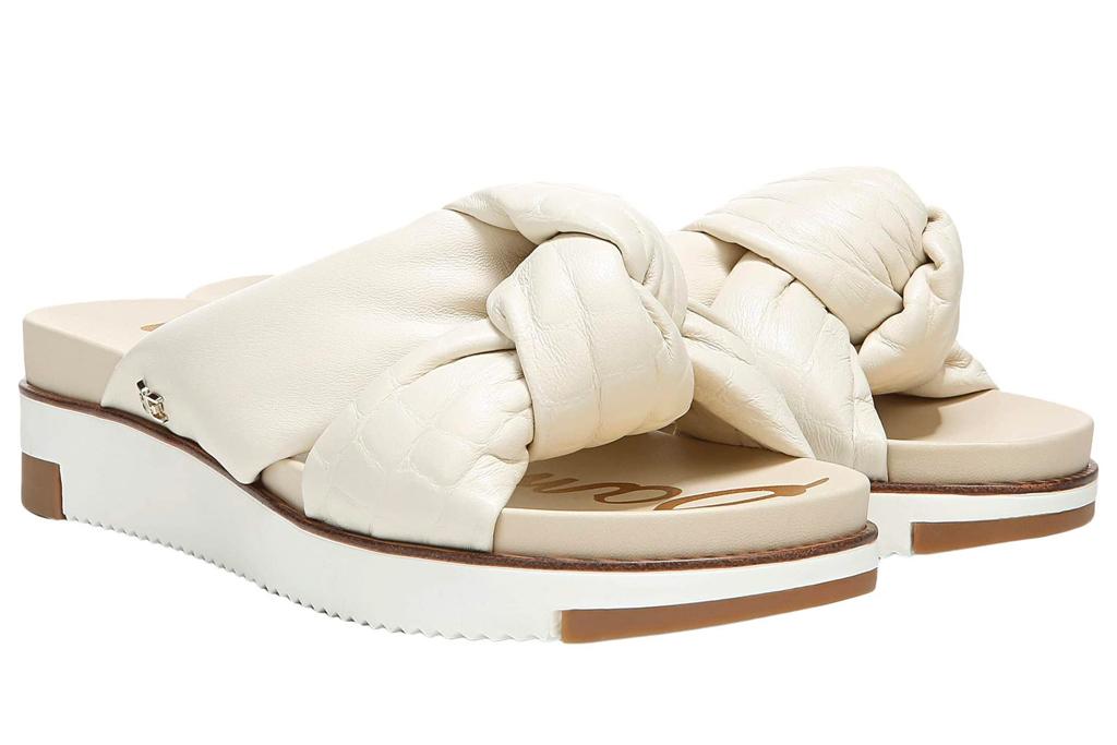 white sandals, puffy, sam edelman