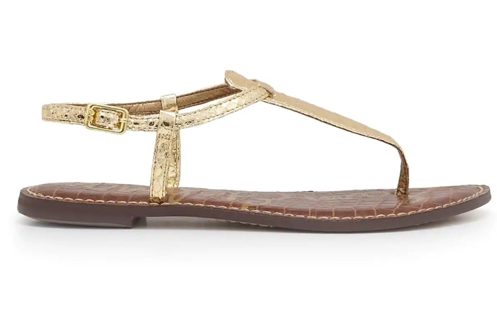 thong sandals, black, gold, sam edelman