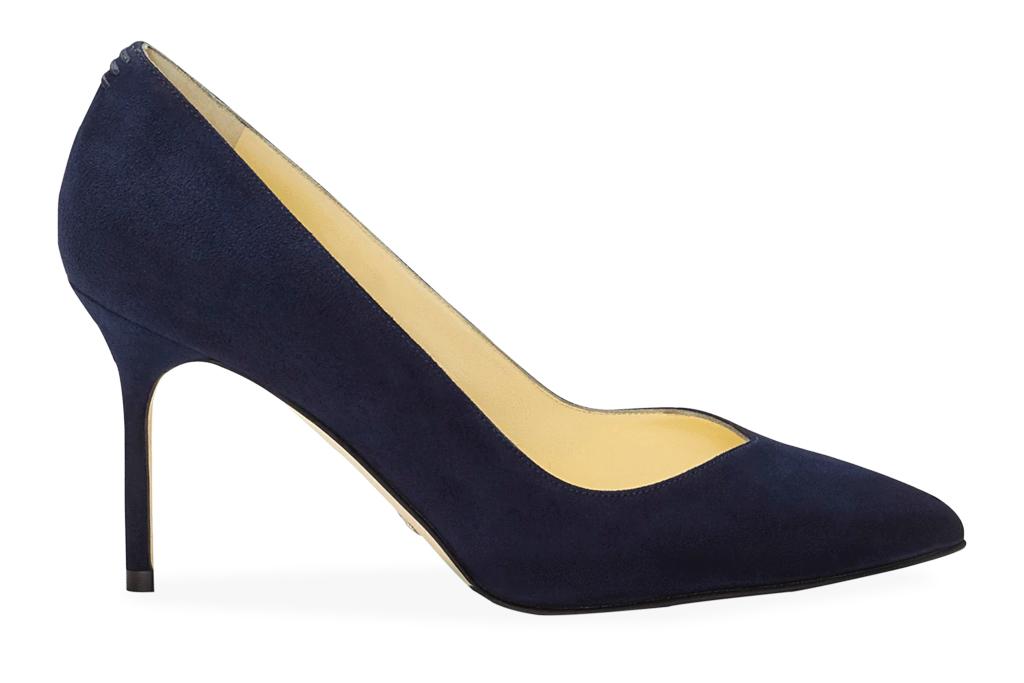 navy heels, pumps, sarah flint