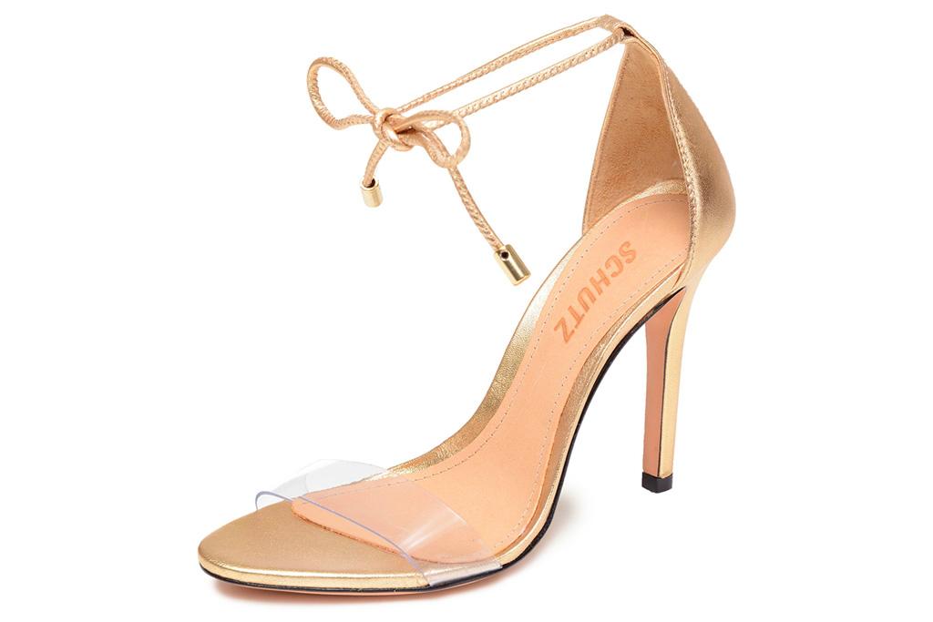 gold sandals, heels, wrap, schutz