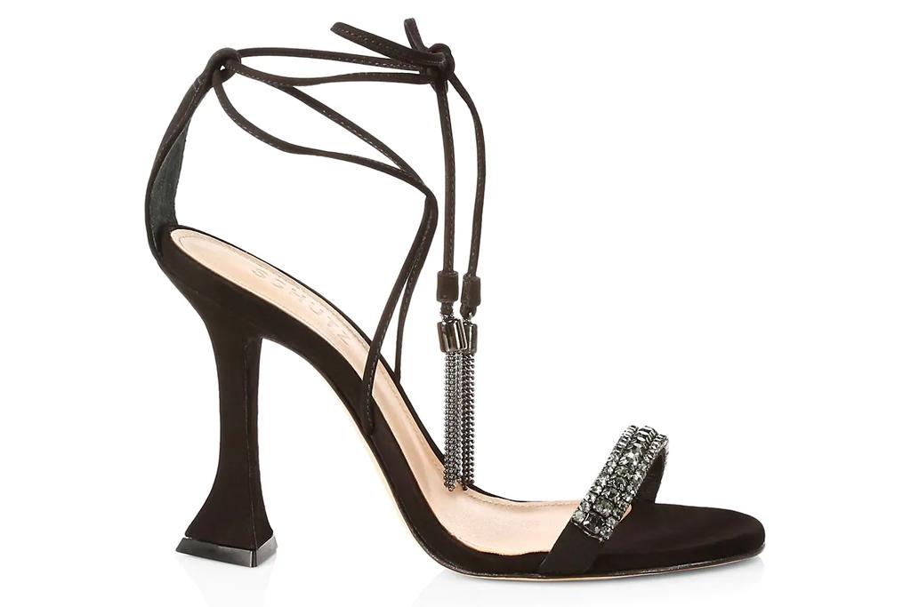 black sandals, wrap heels, schutz