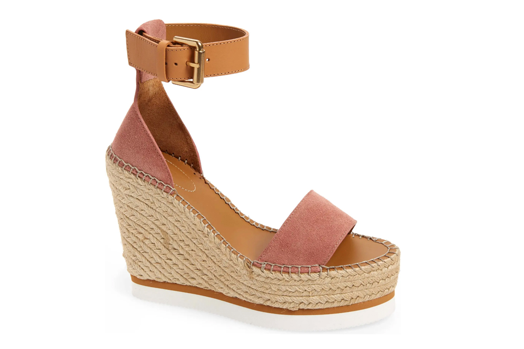 wedge sandals, heels, tan, see by chloe