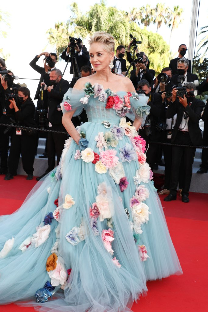 sharon stone, tulle dress, cannes