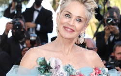 sharon stone, floral dress, earrings, cannes