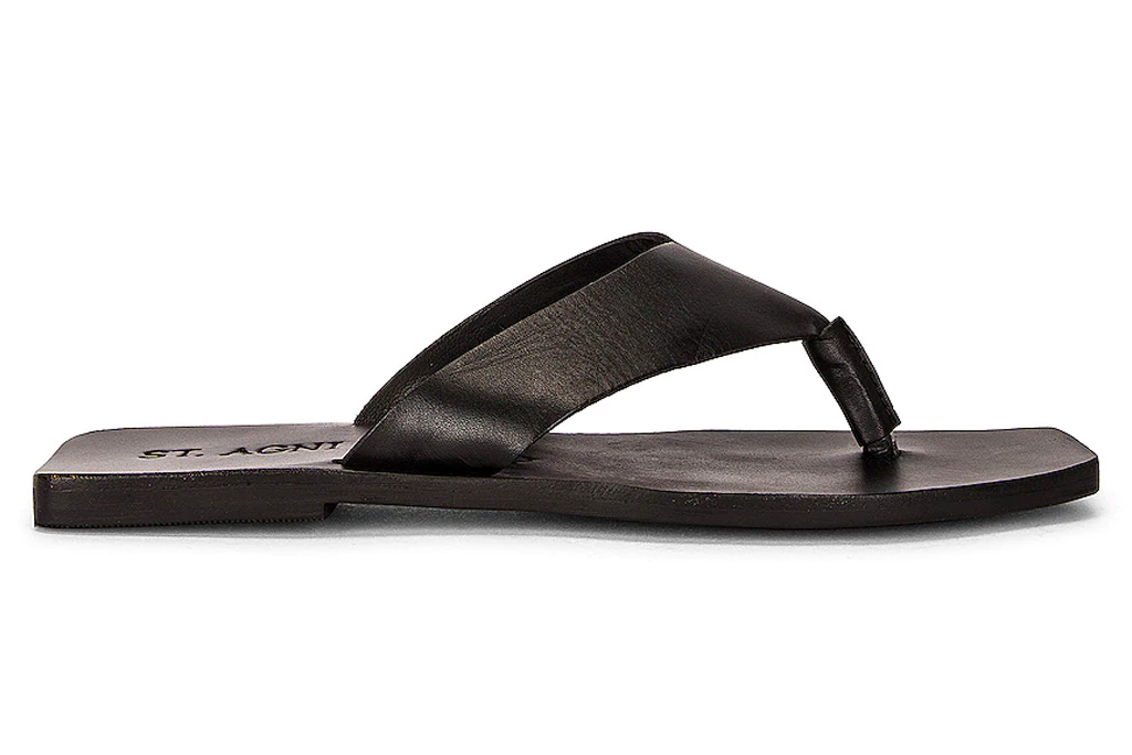 thong sandals, square toe, black, st agni