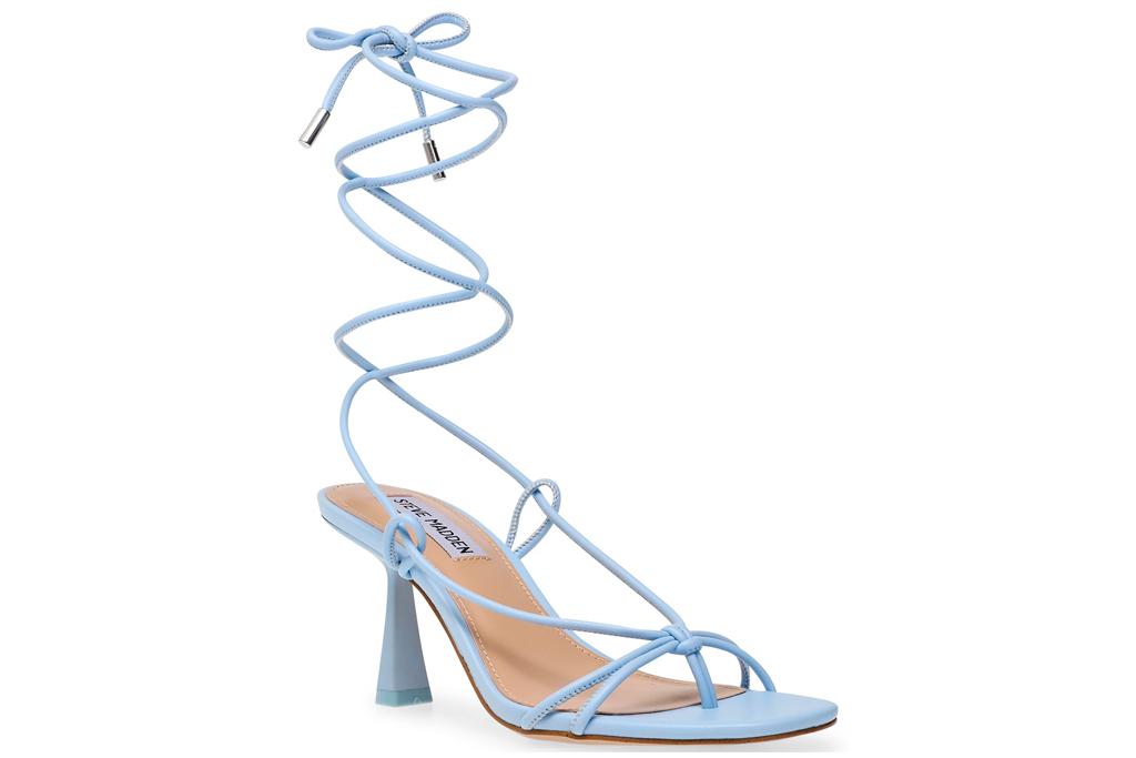 wrap heels, sandals, silver, blue, steve madden