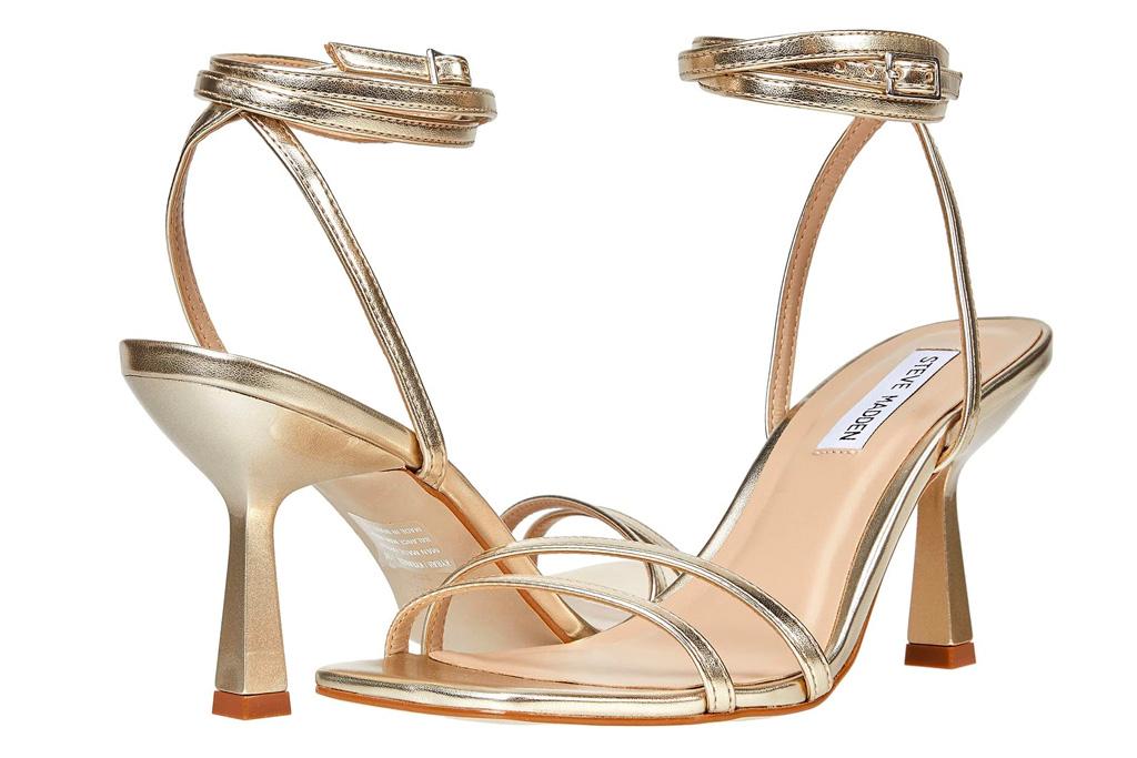 gold sandals, heels, wrap, steve madden