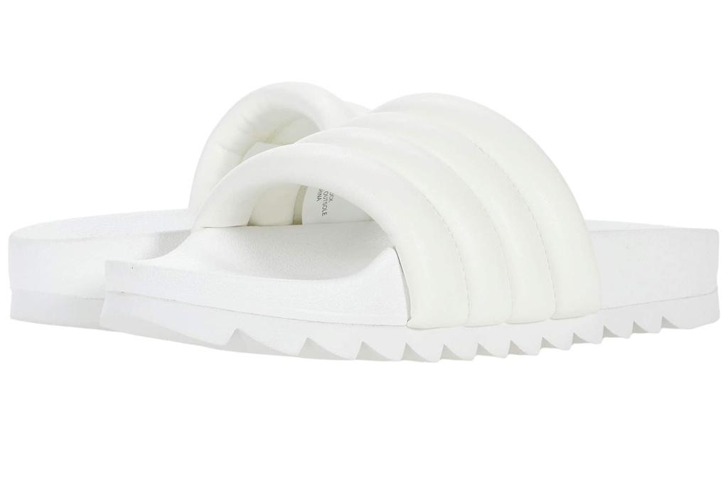 white sandals, puffy, steve madden
