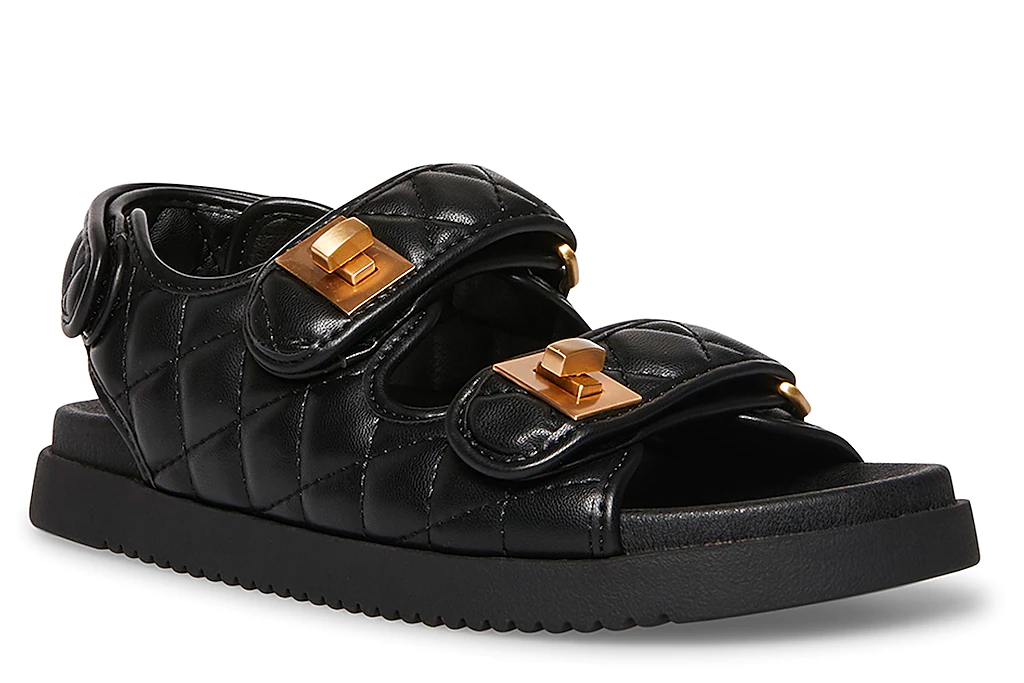 quilted sandals, ugly sandals, steve madden