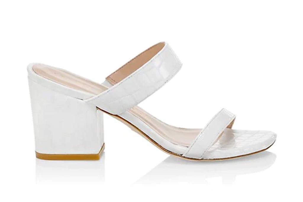 white mules, sandals, double strap, stuart weitzman