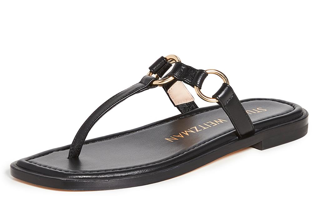 thong sandals, black, gold, stuart weitzman