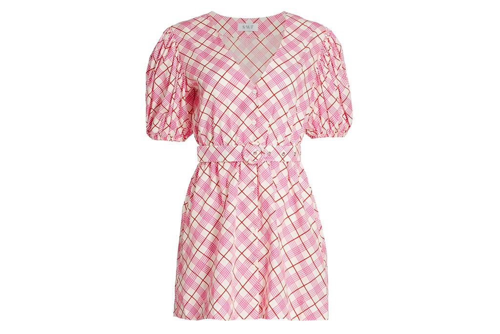 swf, plaid dress, pink