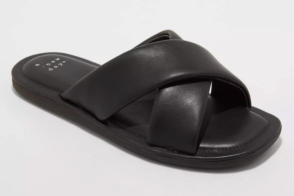 slide sandals, target, puffy