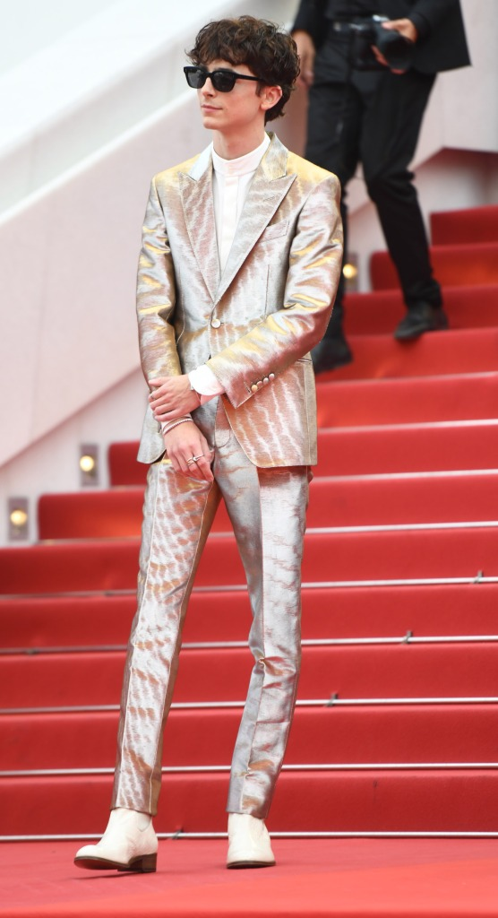 Timothee Chalamet, tom ford, arrives at the premiere of 'The French Dispatch' during the 74th Cannes Film Festival on July 12, 2021 in Cannes, France.
