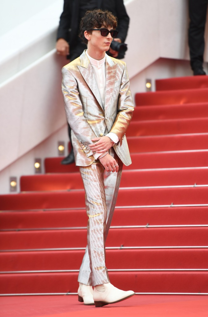 Timothee Chalamet arrives at the premiere of 'The French Dispatch' during the 74th Cannes Film Festival on July 12, 2021 in Cannes, France.