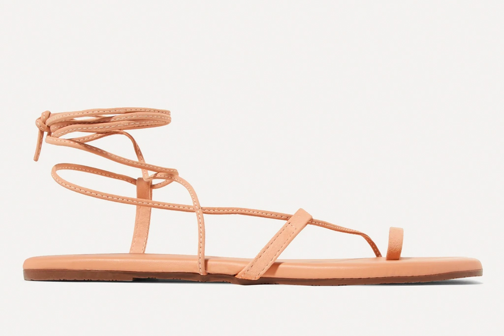 sandals, wrap, tan, tkees