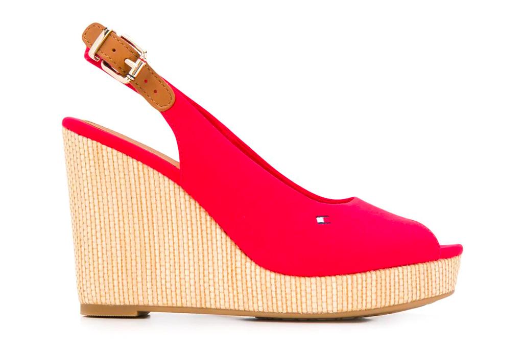 red wedges, heels, tommy hilfiger