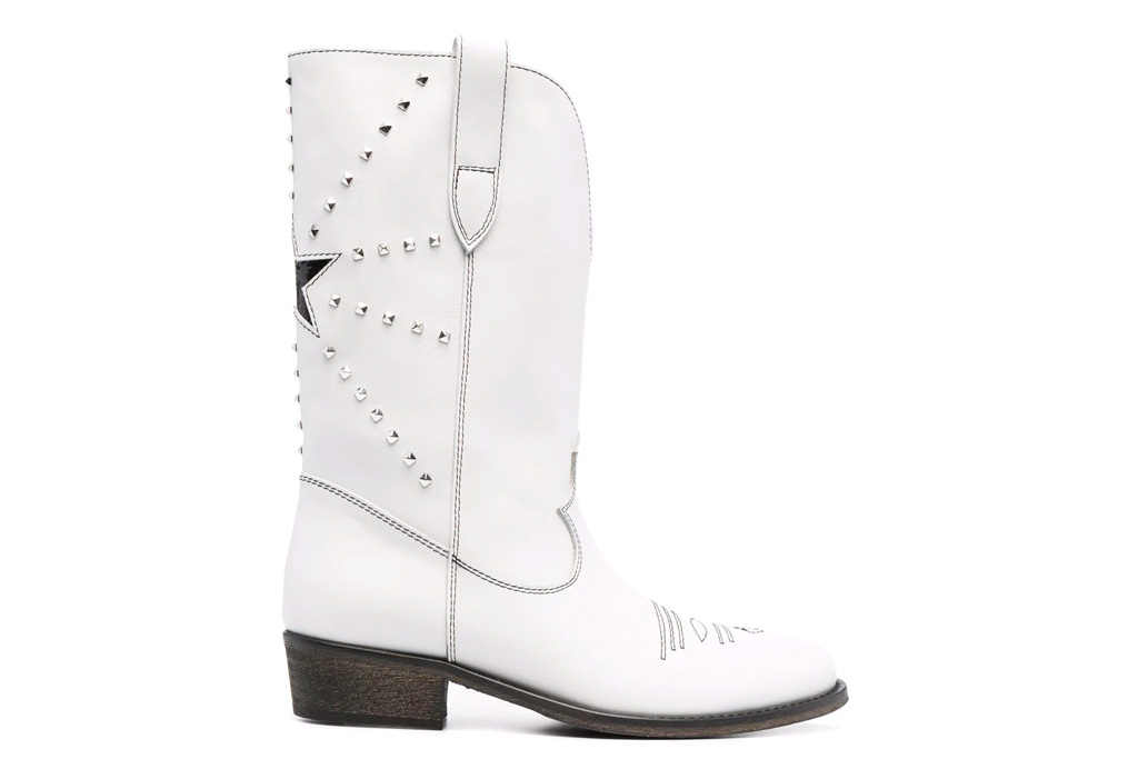 cowboy boots, white boots, via