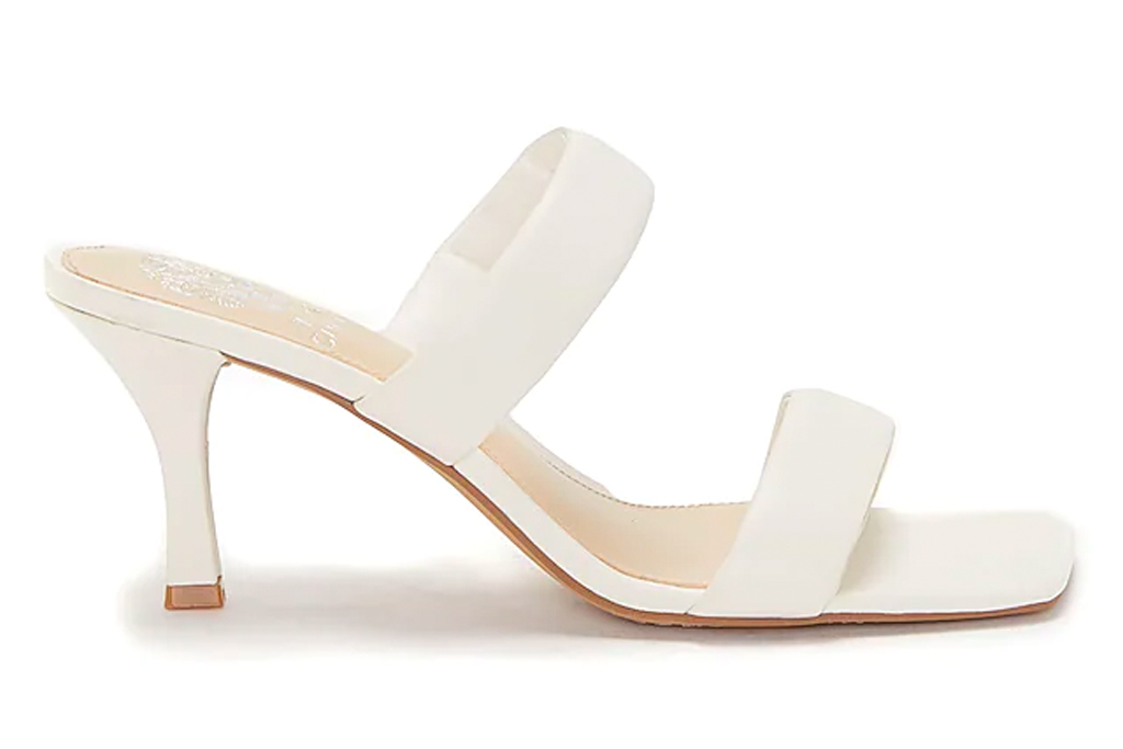 white mules, sandals, double strap, vince camuto