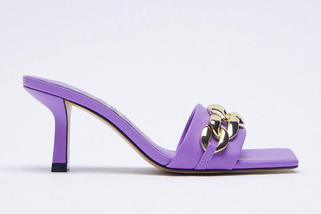 purple heels, mules, zara
