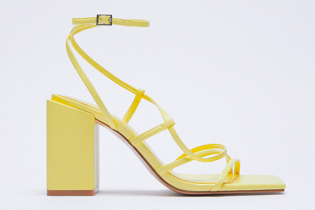 yellow sandals, square toe, heels, zara