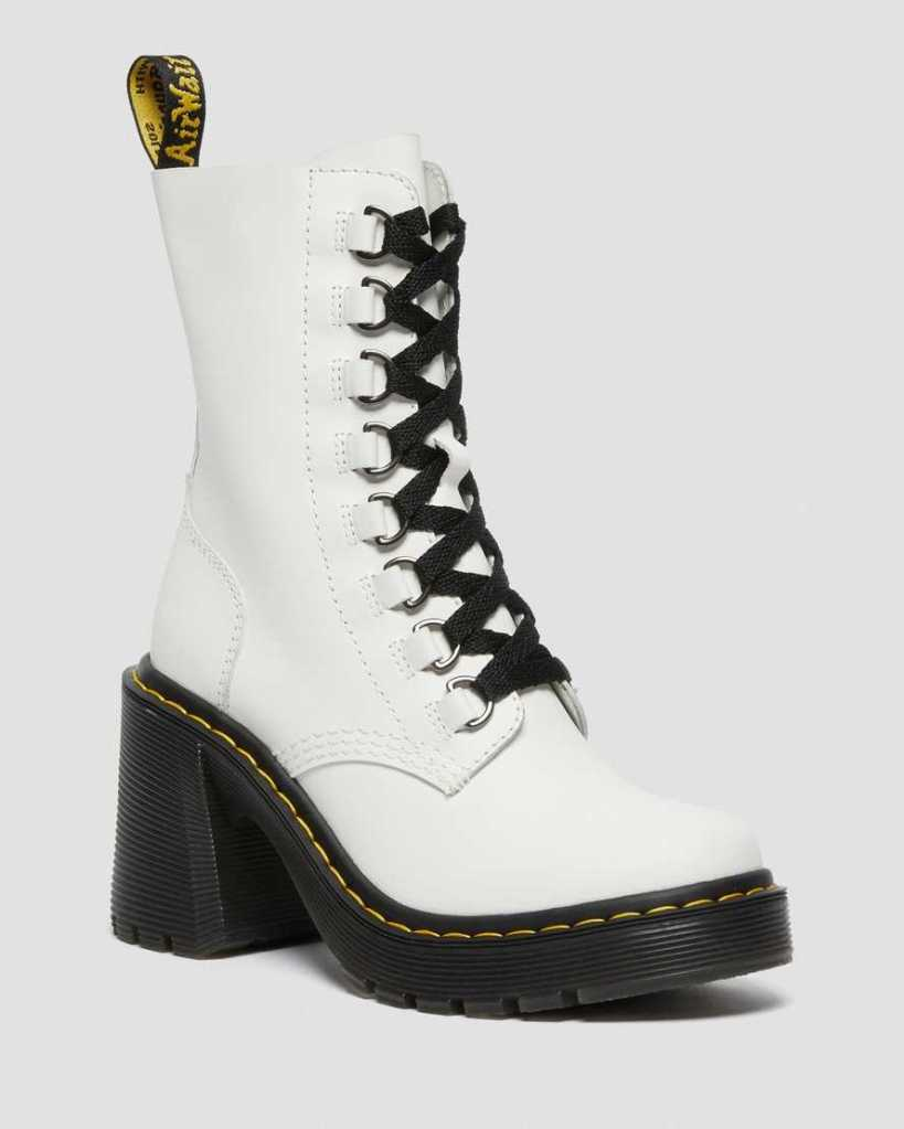 Dr. Martens CHESNEY LEATHER FLARED HEEL LACE UP BOOTS
