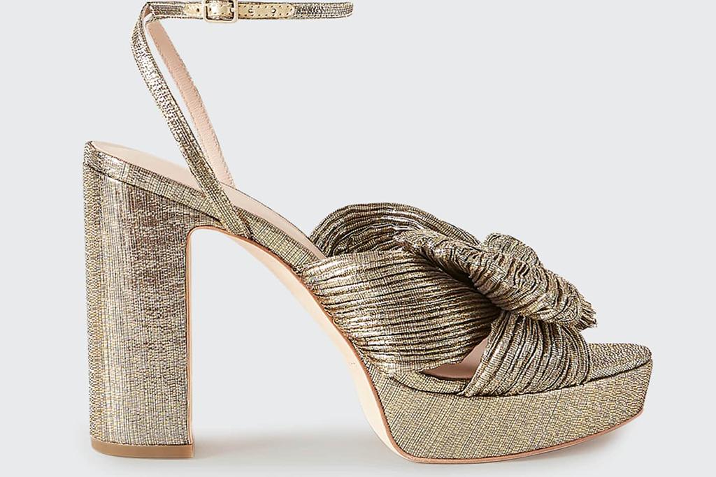 LOEFFLER RANDALL Natalia Metallic Knot Platform Sandals