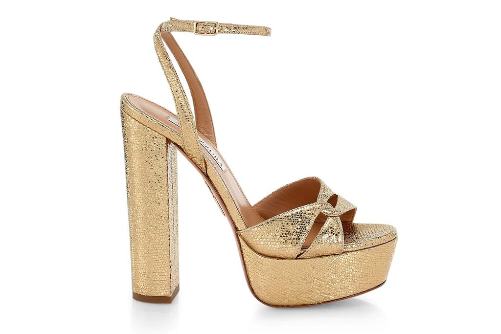 Aquazzura Sinner Plateau Metallic Leather Sandals