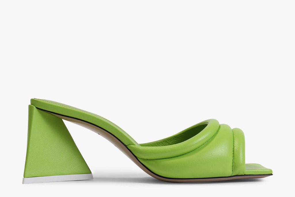 The Attico Green Leather Devon Mule Shoe