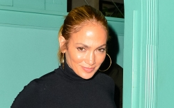 Jennifer Lopez, blue midi dress, mules