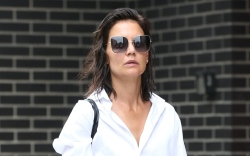 Katie Holmes, trousers, button down, loafers,