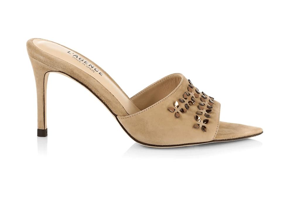 L'AGENCE Claudine Embellished Suede Mule Sandals